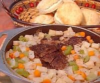Oven Roast Beef and Vegetables with Buttermilk Biscuits