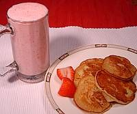 Apple Pancakes and Strawberry Yogurt Smoothie