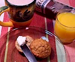 Applesauce Nut Muffin with Hot Cocoa and Orange Juice