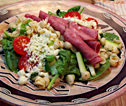Beef and Pasta Spinach Salad