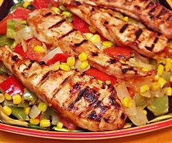 Corn and Peppers with Grilled Chicken