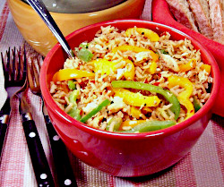 Recipe for Flaky Fish with Peppers and Rice