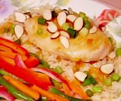 Picture of Glazed Chicken over Rice with Fresh Green Bean Salad