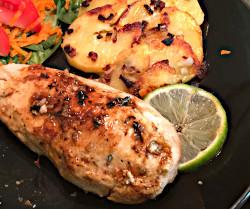 Image of Lime Glazed Chicken and Garlicky Skillet Spuds