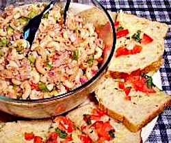 Mac and Tuna Toss with Tomato Cilantro Bread