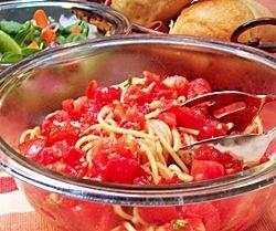 Basil Tomato Marinade over Pasta