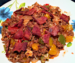 Image of Beef and Bacon with Rice and Tomatoes