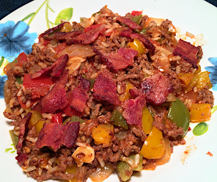 Beef and Bacon with Rice and Tomatoes