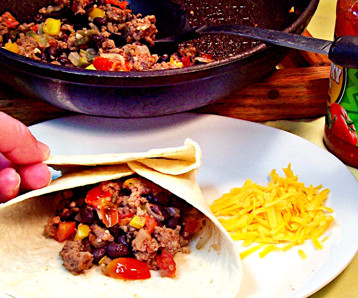 Black Bean and Chorizo Burrito
