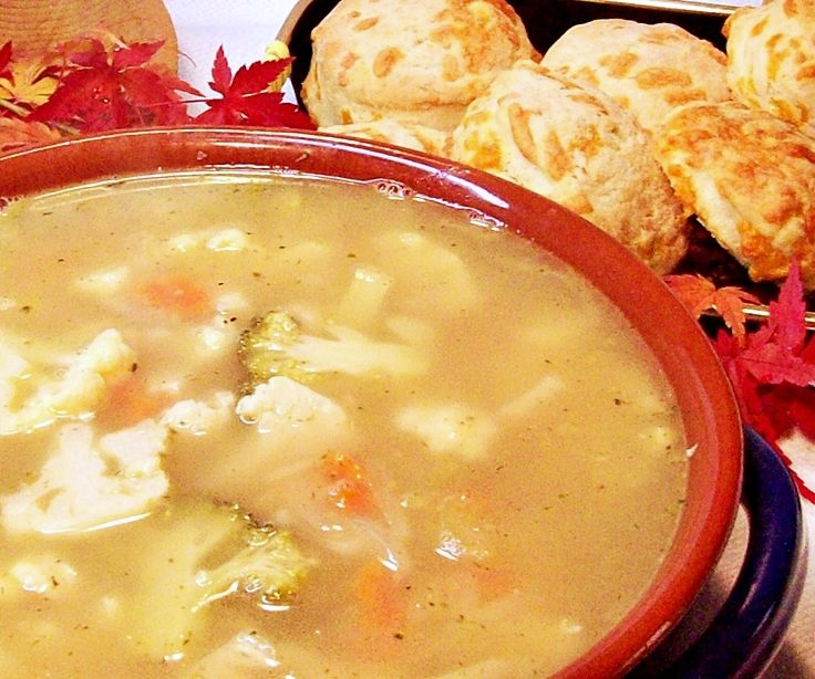 Image of Chicken Cauliflower Soup with Cheese Biscuits