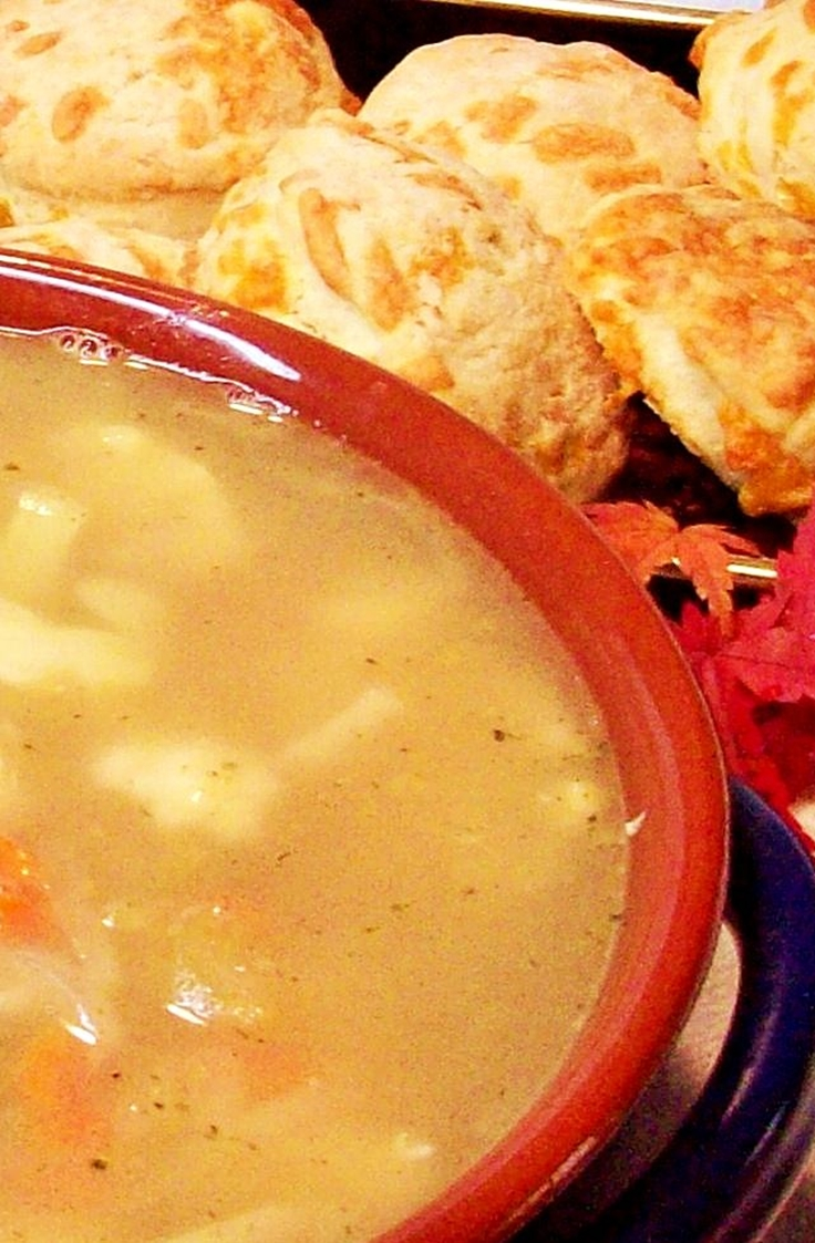 Chicken Cauliflower Soup with Cheese Biscuits