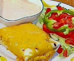 Image of Chili Burritos and Salad with Ranch-Salsa Dressing