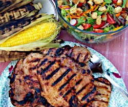 Image of Corn Roasted in the Husk and BBQ Pork Chop
