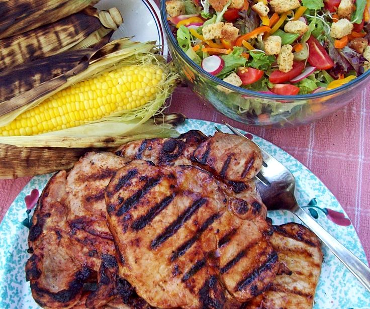 Corn Roasted in the Husk and BBQ Pork Chop