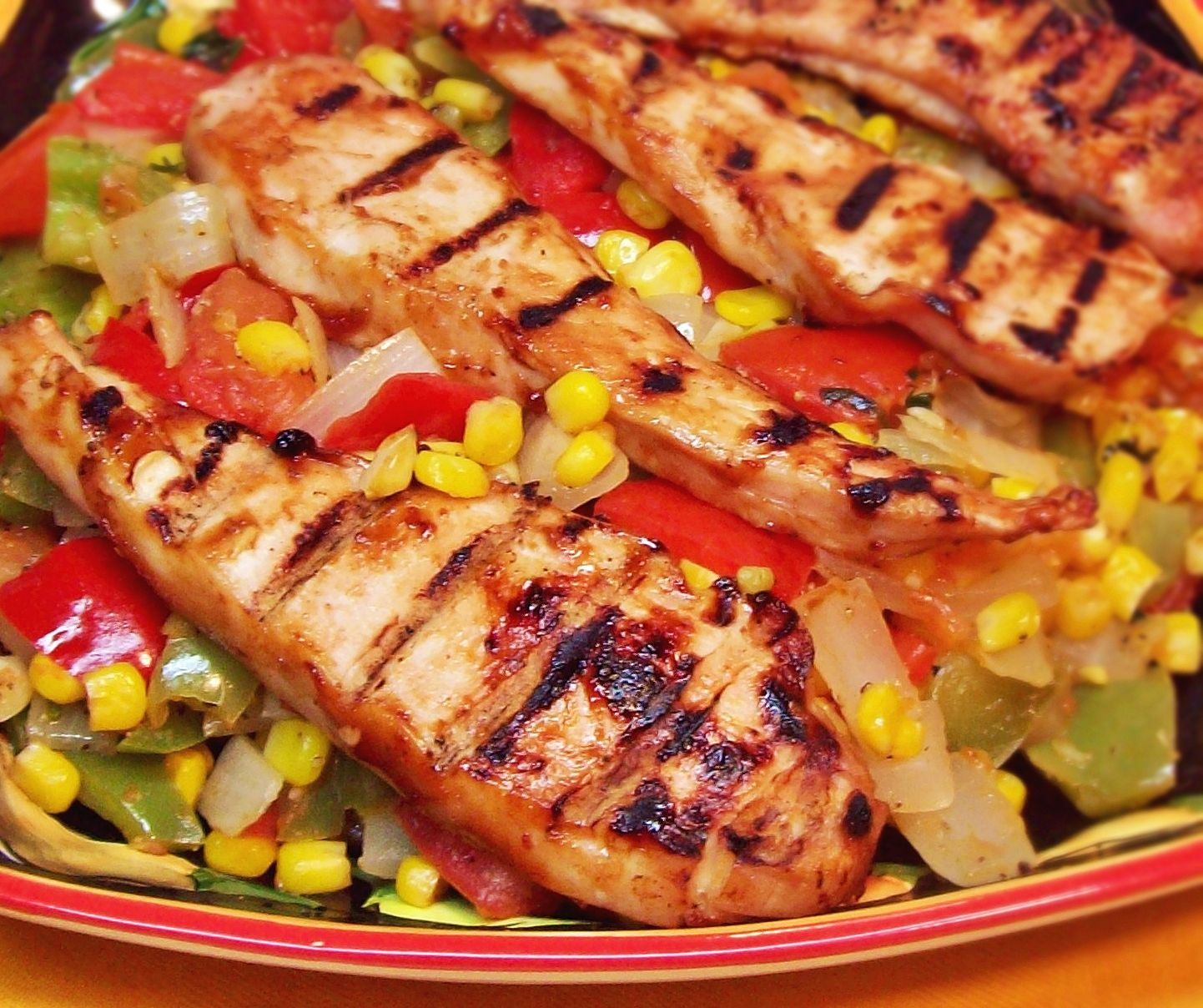 Image of Corn and Peppers with Grilled Chicken
