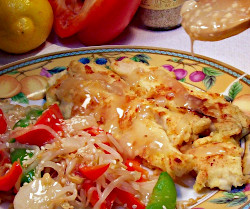 Crusty Lemon Chicken with Sesame Bean Sprouts