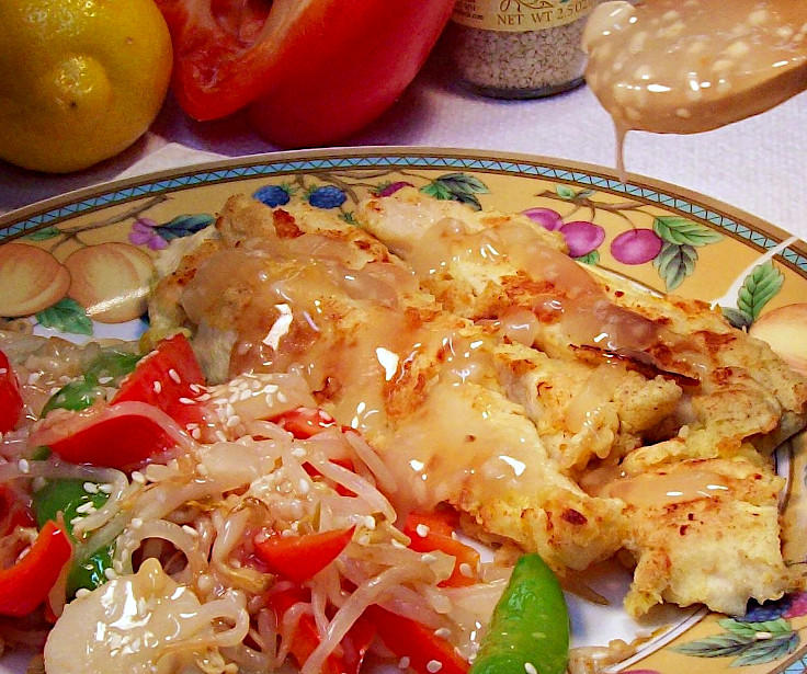 Image of Crusty Lemon Chicken with Sesame Bean Sprouts