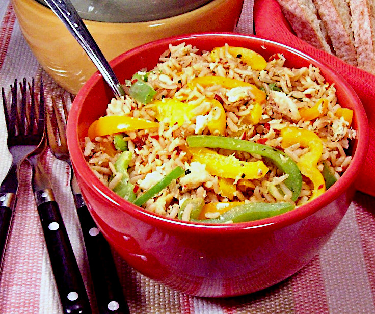 Flakey Fish with Peppers and Rice