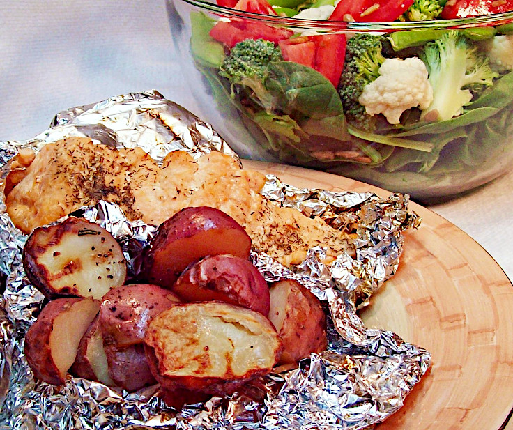 Foil-Grilled Salmon and Potato Wedges