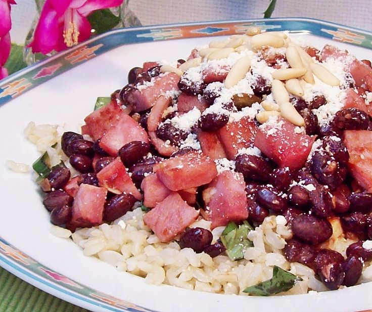 Image of Ham and Black Beans over Green Rice