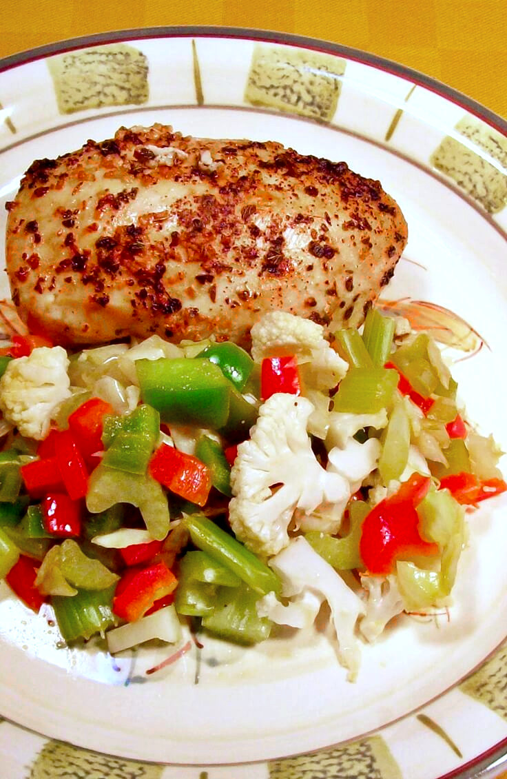Lemon Marinated Baked Chicken Breast and Stir Fry Side Dish