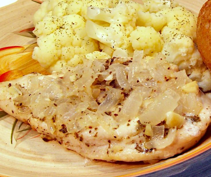 Lemon Sage Chicken Breast with Dill Steamed Cauliflower