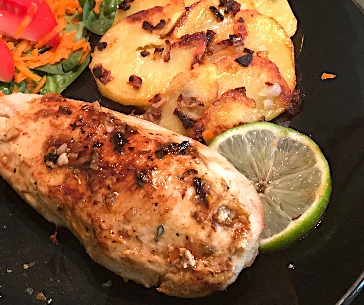 Lime Glazed Chicken and Garlicky Skillet Spuds