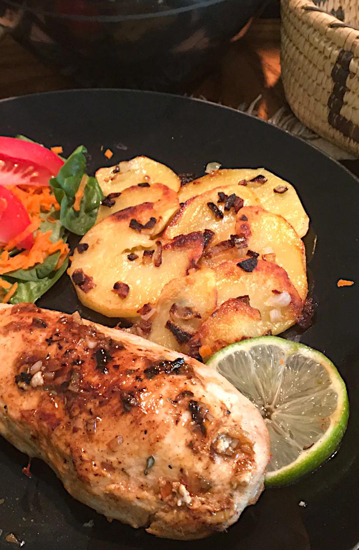 Lime Glazed Chicken and Garlicky Skillet Spuds