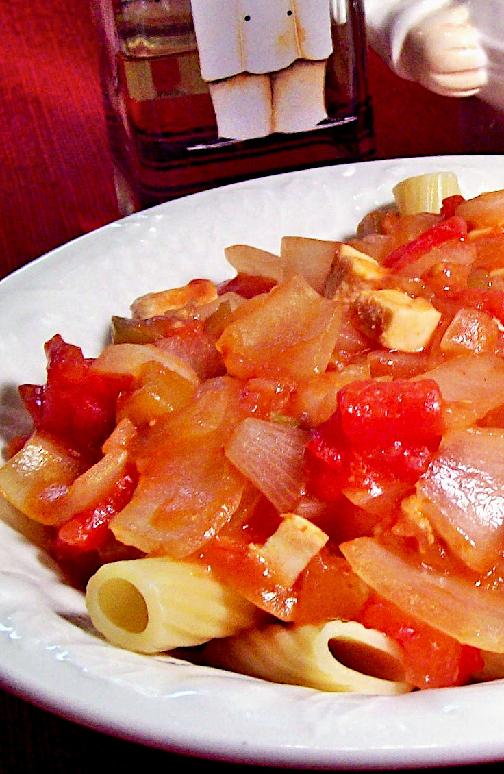 Onion and Black Pepper Chicken Rigatoni