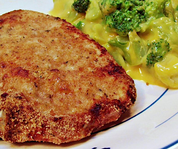 Image of Oven Fried Pork Chop with Broccoli in Cheese Sauce