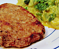 Oven Fried Pork Chop with Broccoli in Cheese Sauce