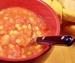 Potato, Chicken and Corn Soup with Cornbread