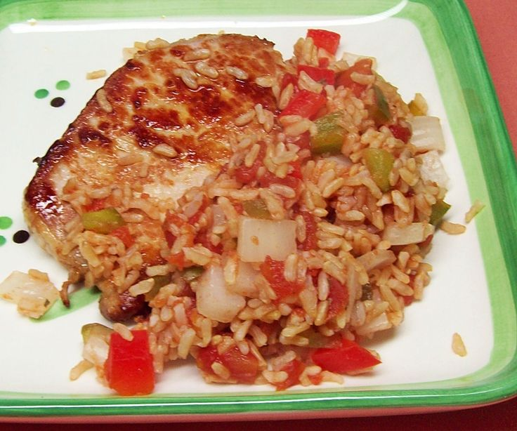 Image of Quickie Spanish Rice and Pork Loin Chop