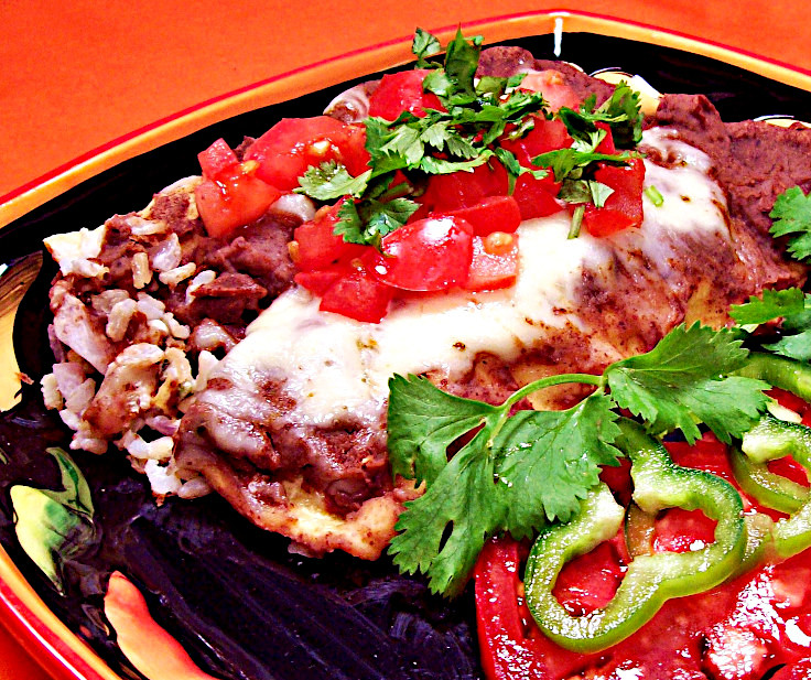 Rice Enchiladas with Black Bean Sauce