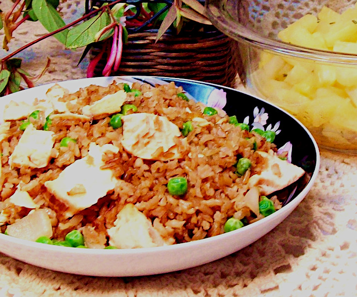 Salmon Fried Rice with Herbed Pineapple