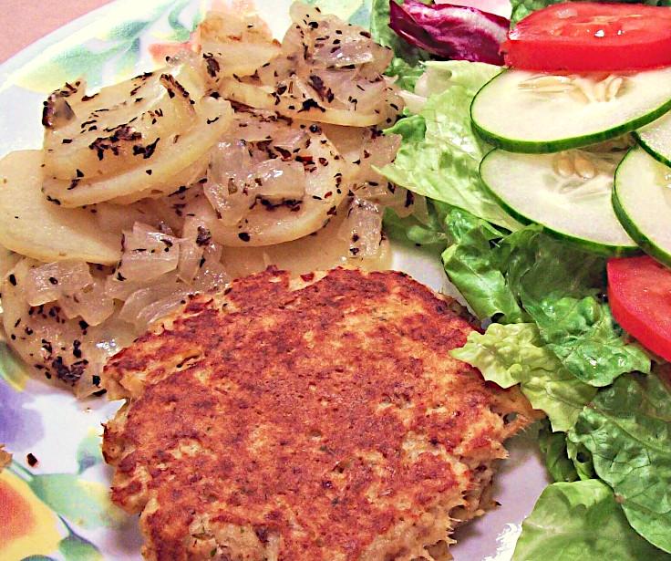 Salmon Patty with Oven-Seasoned Potatoes