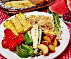 Seared Marinade Platter, Roasted Corn and Mediterranean Garlic Bread