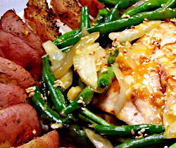 Sesame Orange Fish with Fresh Green Beans and Seasoned Potato Wedges