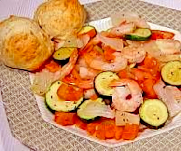 Shrimp with Zucchini and Tomatoes accompanied by Parmesan Herb Drop Biscuits