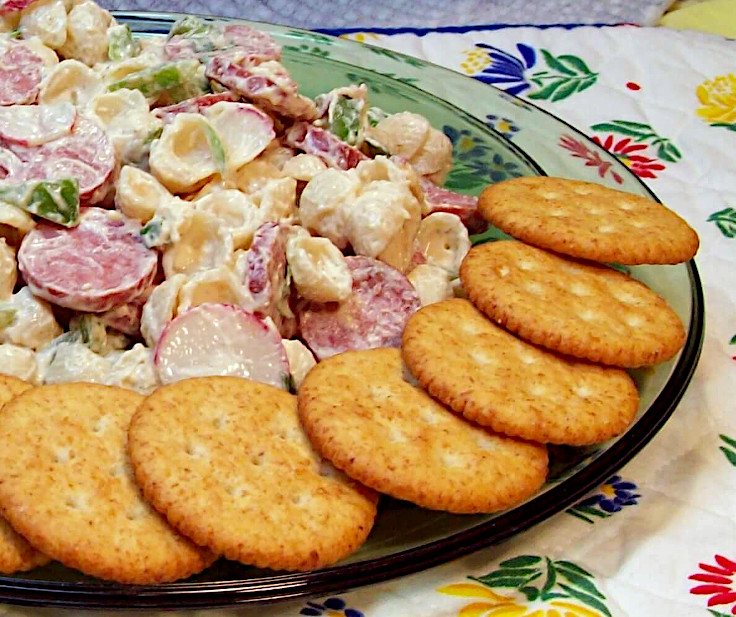 Summer Sausage Cream Cheese Pasta Salad