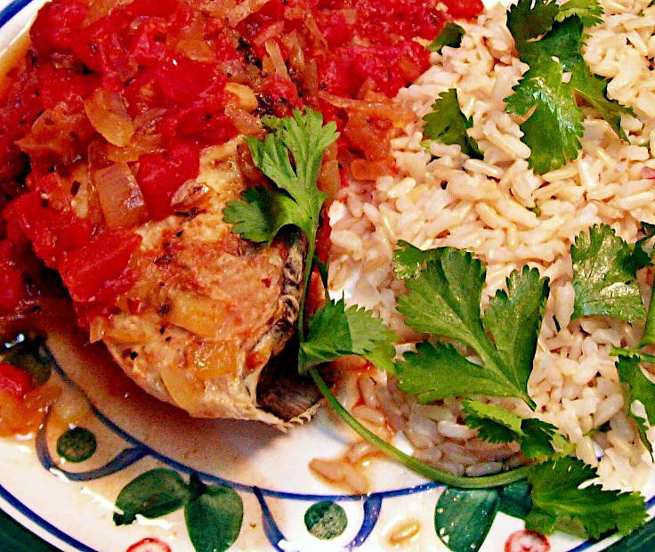 Tarragon and Tomato Poached Halibut with Cilantro Lemon Rice