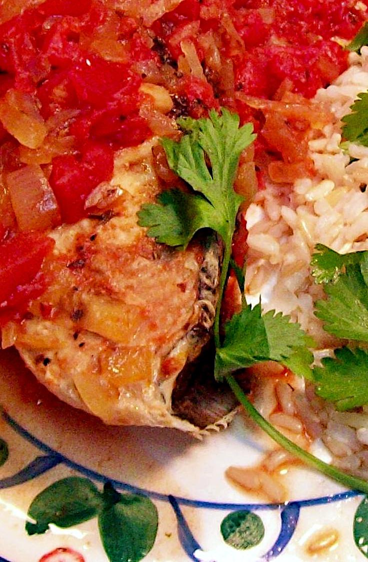 Tarragon and Tomato Poached Halibut with Cilantro Lemon Rice