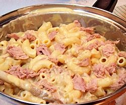 Tuna Mac and Cheese in a Saucepan
