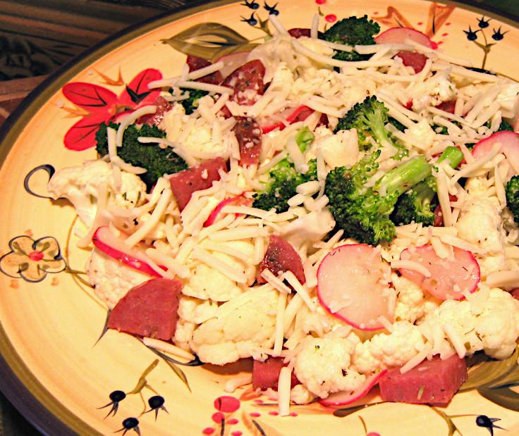 Warm Cauliflower Salad with Salami