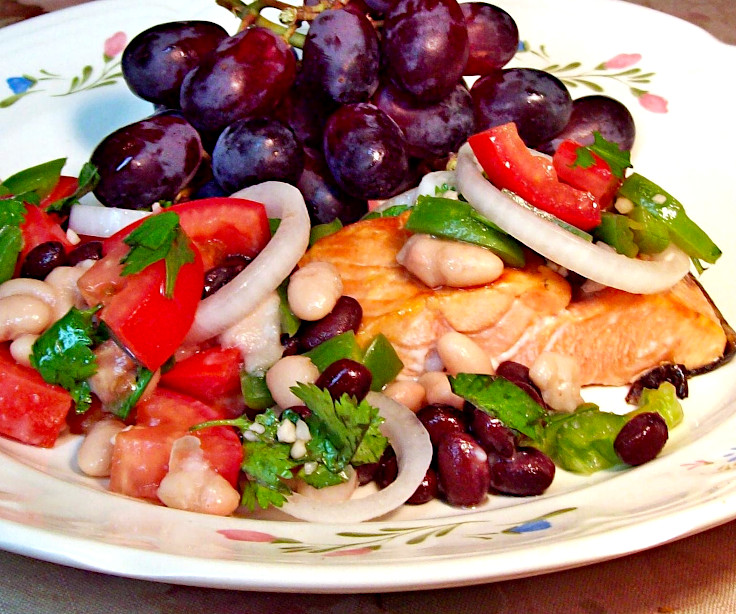 White and Black Bean Smothered Salmon