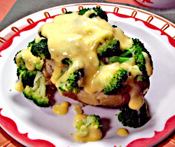 Yogurt Cheese Sauce over Broccoli and Baked Potatoes
