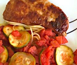 Zucchini Pasta and Pork Chops
