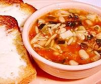 Minestrone Soup with Cheese Bread