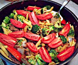 Recipe for Peruvian Steak and Pasta Stir Fry