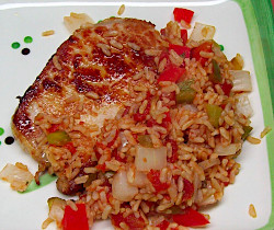 Quickie Spanish Rice and Pork Loin Chop